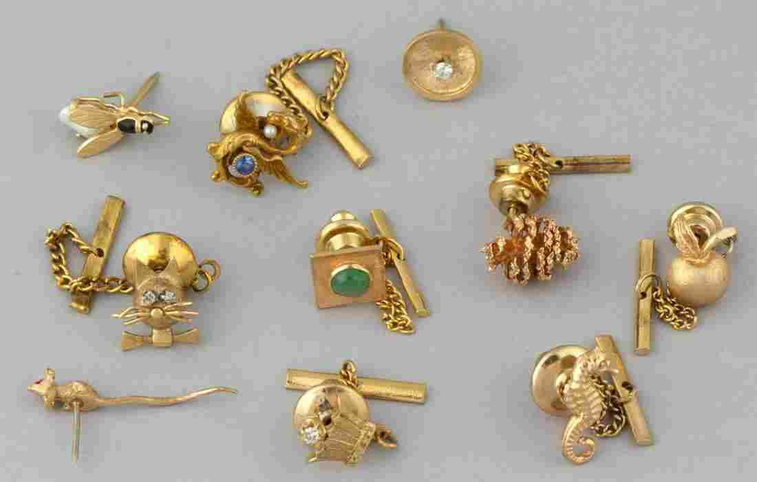 VINTAGE 14K YELLOW GOLD PINS / TIE TACKS, LOT OF TEN