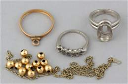 VINTAGE PLATINUM AND GOLD SCRAP JEWELRY LOT OF 16