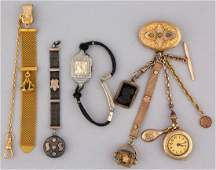 ANTIQUE / VINTAGE WATCHES AND WATCH FOBS, LOT OF FOUR