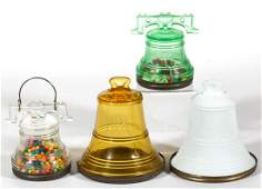ASSORTED LIBERTY BELL FIGURAL GLASS CANDY CONTAINERS /