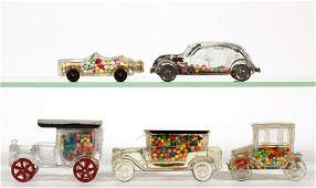 ASSORTED AUTOMOBILE FIGURAL GLASS CANDY CONTAINERS LOT