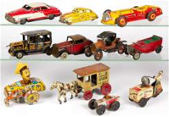 ASSORTED VINTAGE TIN VEHICLE TOYS, LOT OF 11