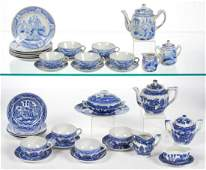 """JAPANESE PORCELAIN """"BLUE WILLOW"""" CHILD'S TEA AND TABLE"""