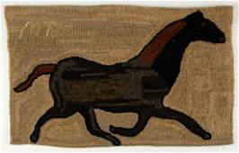 PEGGY TEICH (AMERICAN) FOLK ART FIGURAL HOOKED RUG