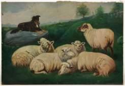 AMERICAN SCHOOL (20TH CENTURY) FOLK ART FARM SCENE