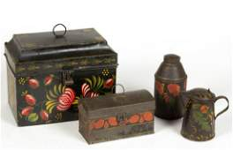 AMERICAN PAINT-DECORATED TOLEWARE ARTICLES, LOT OF FOUR