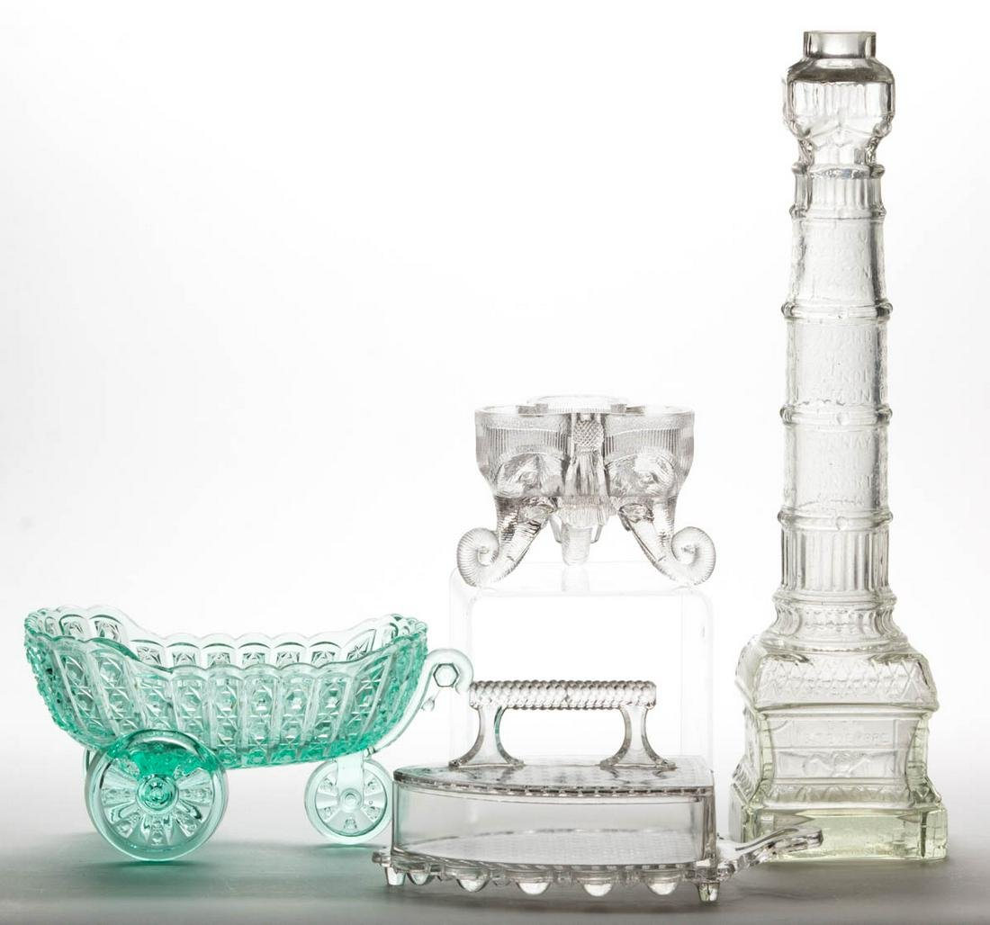 ASSORTED GLASS NOVELTY ARTICLES, LOT OF FOUR