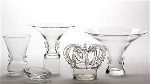 STEUBEN CRYSTAL ART GLASS ARTICLES LOT OF FIVE
