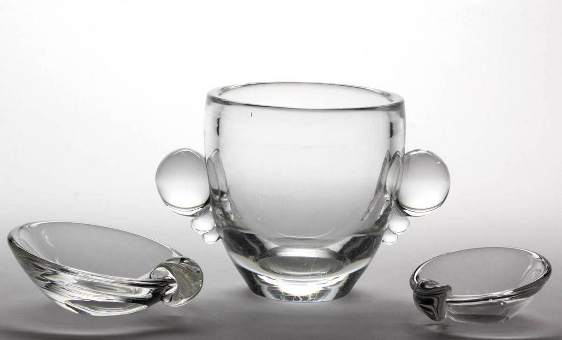 STEUBEN CRYSTAL ART GLASS ARTICLES, LOT OF THREE