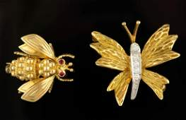 VINTAGE TIFFANY  CO 18K YELLOW GOLD INSECT PINS