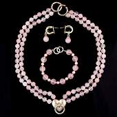 VINTAGE TIFFANY & CO. STERLING SILVER AND ROSE QUARTZ
