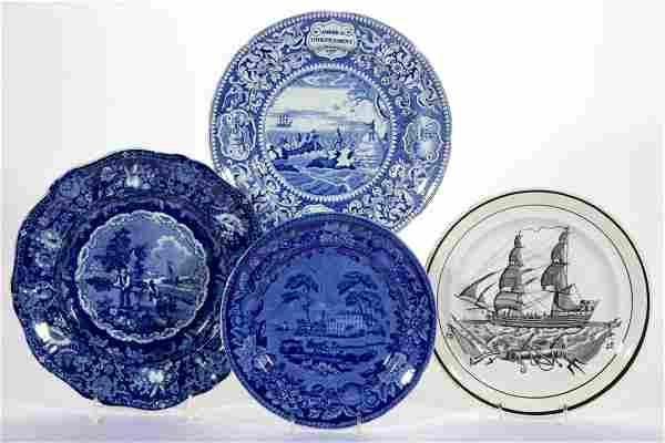 ENGLISH STAFFORDSHIRE PEARLWARE BLUE TRANSFER-PRINTED