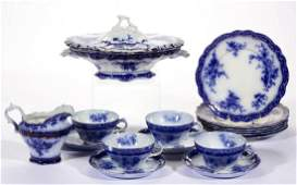 ENGLISH STAFFORDSHIRE TOURAINE FLOW BLUE