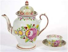 ENGLISH PEARLWARE KING'S ROSE HAND-PAINTED CERAMIC