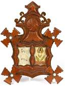 AMERICAN TRAMP ART CARVED WOODEN PICTURE FRAME