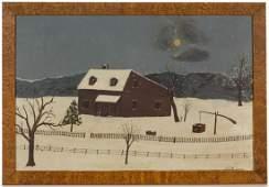 AMERICAN SCHOOL (19TH CENTURY) FOLK ART WINTER FARM