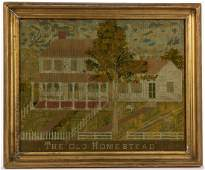 """AMERICAN """"THE OLD HOMESTEAD"""" PUNCH-WORK NEEDLEWORK"""