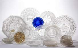 ASSORTED PRESSED LACY GLASS ARTICLES, LOT OF 23