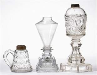 ASSORTED GLASS FLUID / KEROSENE LAMPS, LOT OF THREE