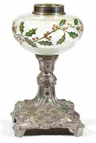 POLYCHROME DECORATED KEROSENE STAND LAMP