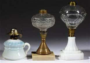 ASSORTED GLASS KEROSENE LAMPS, LOT OF THREE