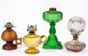 ASSORTED GLASS KEROSENE LAMPS, LOT OF FOUR