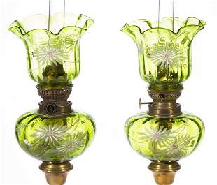 VICTORIAN DECORATED PANEL-OPTIC MINIATURE PEG LAMPS,
