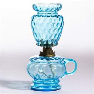 VICTORIAN SPOT-OPTIC GLASS KEROSENE MINIATURE LAMP