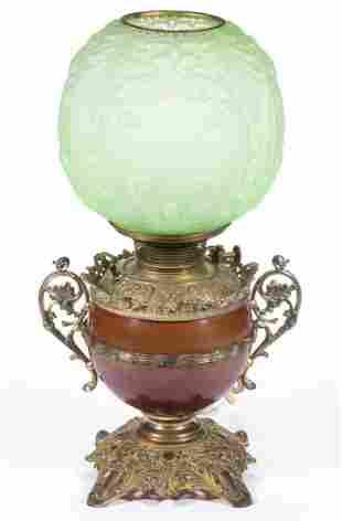 BRADLEY & HUBBARD MIXED-METAL KEROSENE PARLOR LAMP