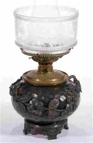 VICTORIAN QUADRUPLE-PLATED KEROSENE BANQUET LAMP