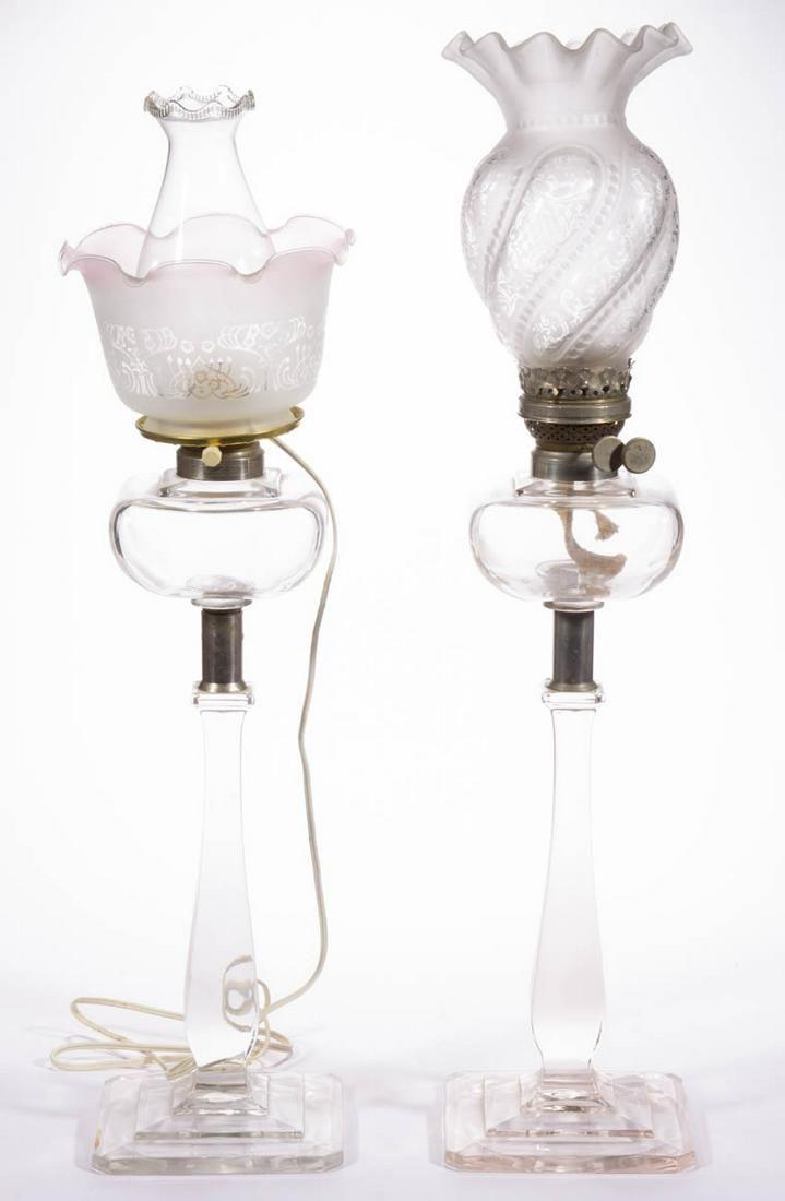 VICTORIAN PRESSED GLASS NEAR PAIR OF KEROSENE PARLOR /