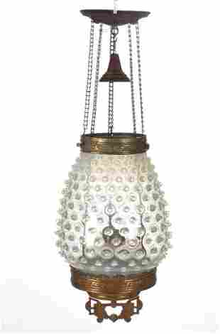 VICTORIAN HOBNAIL OPALESCENT GLASS HALL LAMP