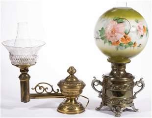 ASSORTED EMBOSSED METAL KEROSENE LAMPS, LOT OF TWO