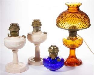 ALADDIN LINCOLN DRAPE KEROSENE LAMPS, LOT OF FOUR