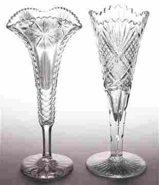 ASSORTED BRILLIANT CUT GLASS TRUMPET VASES, LOT OF TWO