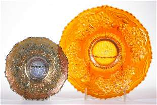 FENTON CARNIVAL GLASS PLATES, LOT OF TWO