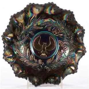 AUSTRALIAN THUNDERBIRD SHRIKE CARNIVAL GLASS BOWL