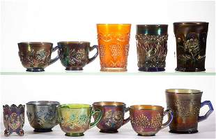 ASSORTED CARNIVAL GLASS DRINKING ARTICLES, LOT OF 11