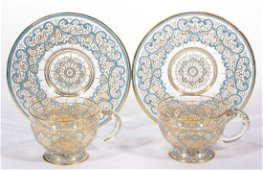 LOBMEYR, AUSTRIA FREE-BLOWN AND DECORATED TEA CUP AND