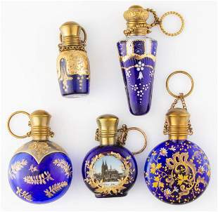 ASSORTED COBALT BLUE AND ENAMEL-DECORATED SCENT