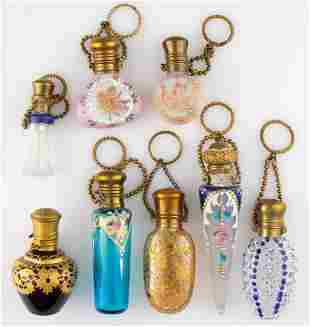 ASSORTED ENAMEL-DECORATED SCENT BOTTLES, LOT OF EIGHT