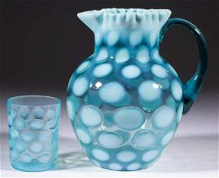 COINSPOT OPALESCENT GLASS WATER PITCHER AND TUMBLER