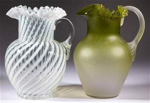 ASSORTED VICTORIAN AND OPALESCENT GLASS WATER PITCHERS,