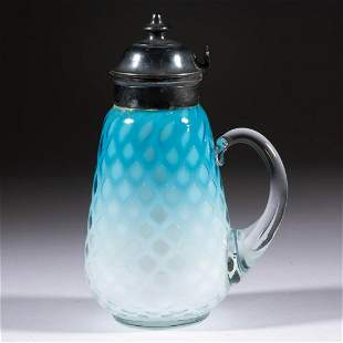 DIAMOND-QUILT AIR-TRAP MOTHER-OF-PEARL SYRUP PITCHER