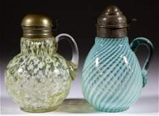 ASSORTED VICTORIAN GLASS SYRUP PITCHERS, LOT OF TWO
