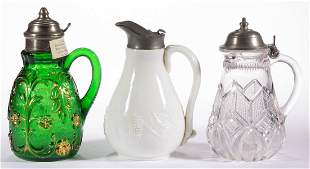 ASSORTED PRESSED GLASS SYRUP PITCHERS, LOT OF THREE