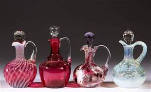 ASSORTED VICTORIAN GLASS CRUETS, LOT OF FOUR