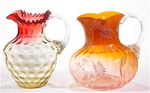 ASSORTED VICTORIAN GLASS WATER PITCHERS, LOT OF TWO
