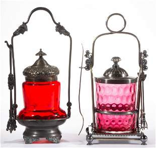 ASSORTED VICTORIAN SPOT-OPTIC GLASS PICKLE CASTERS, LOT