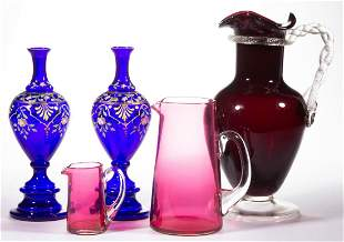 ASSORTED VICTORIAN BLOWN GLASS ARTICLES, LOT OF FIVE